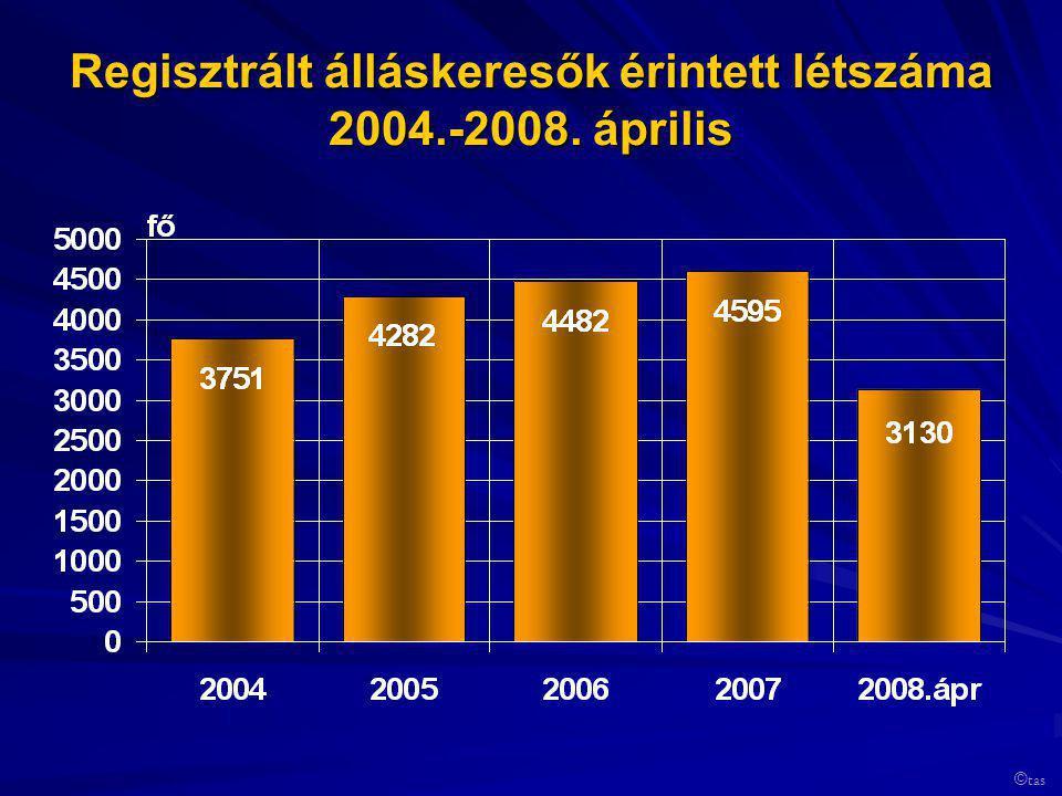 Regisztrált álláskeresők érintett létszáma 2004.-2008. április © tas