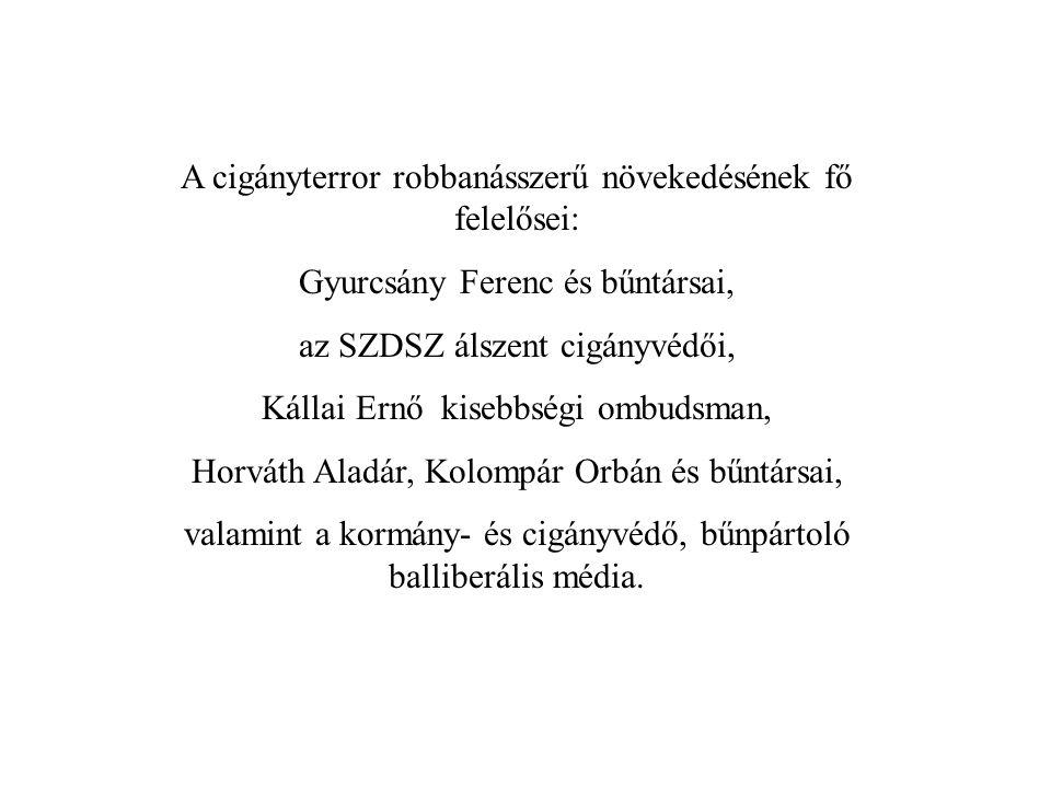 A cigányterror robbanásszerű növekedésének fő felelősei: Gyurcsány Ferenc és bűntársai, az SZDSZ álszent cigányvédői, Kállai Ernő kisebbségi ombudsman, Horváth Aladár, Kolompár Orbán és bűntársai, valamint a kormány- és cigányvédő, bűnpártoló balliberális média.