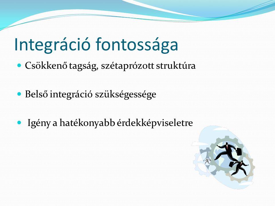 Integráció fontossága Csökkenő tagság, szétaprózott struktúra Belső integráció szükségessége Igény a hatékonyabb érdekképviseletre
