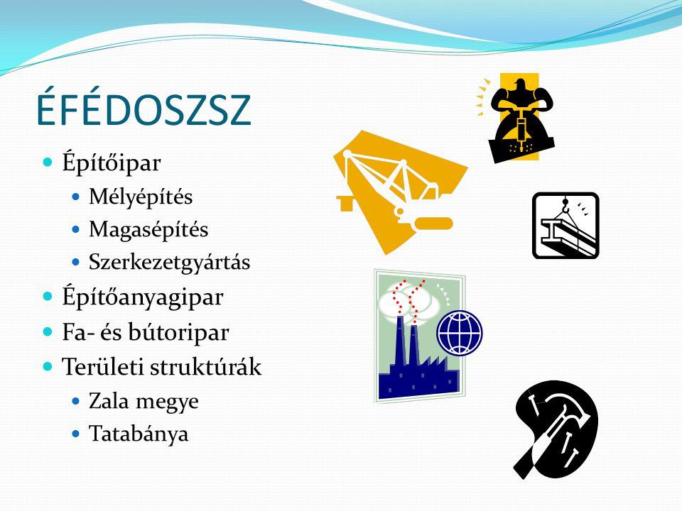 ÉFÉDOSZSZ Építőipar Mélyépítés Magasépítés Szerkezetgyártás Építőanyagipar Fa- és bútoripar Területi struktúrák Zala megye Tatabánya