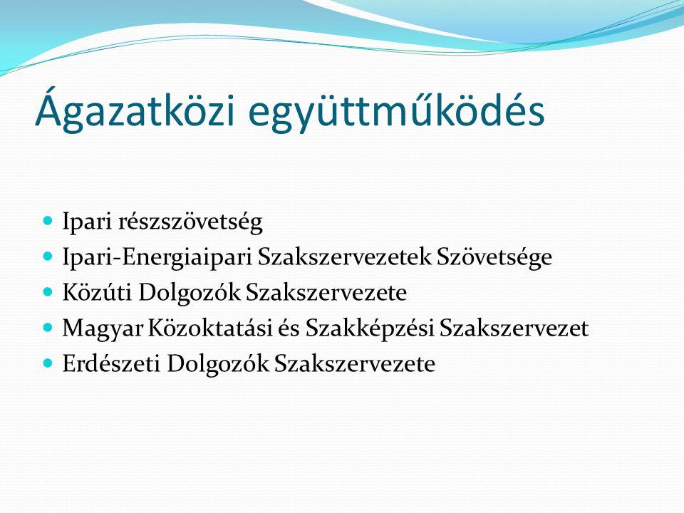 Ágazatközi együttműködés Ipari részszövetség Ipari-Energiaipari Szakszervezetek Szövetsége Közúti Dolgozók Szakszervezete Magyar Közoktatási és Szakké