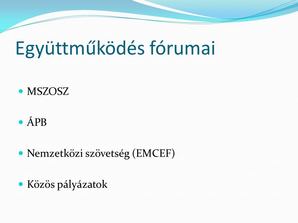 Együttműködés fórumai MSZOSZ ÁPB Nemzetközi szövetség (EMCEF) Közös pályázatok