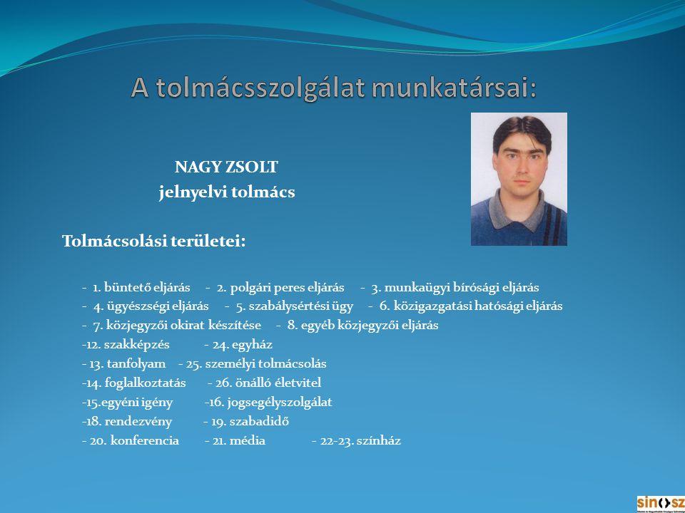 SIMONNÉ VÁRADI ZSUZSANNA szakmai vezető-jelnyelvi tolmács Tolmácsolási területei: - 1.