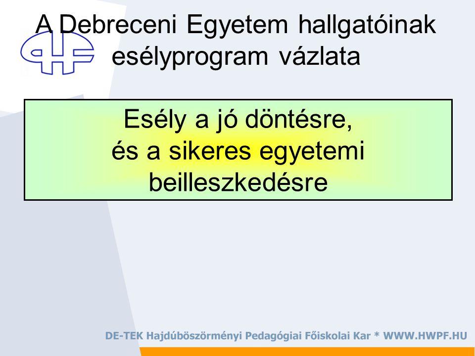 Esély a jó döntésre, és a sikeres egyetemi beilleszkedésre A Debreceni Egyetem hallgatóinak esélyprogram vázlata