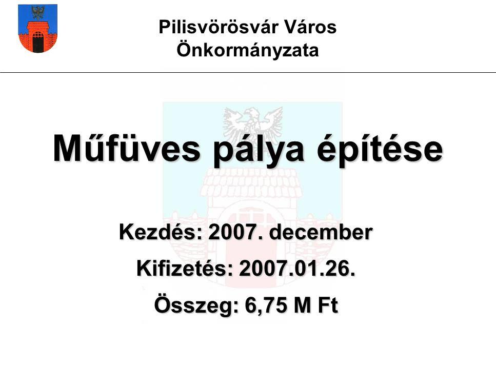 Pilisvörösvár Város Önkormányzata Műfüves pálya építése Kezdés: 2007.