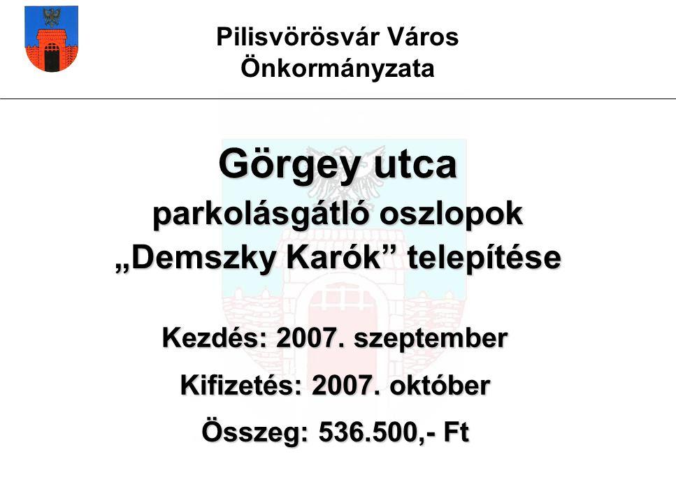 """Pilisvörösvár Város Önkormányzata Görgey utca parkolásgátló oszlopok """"Demszky Karók telepítése Kezdés: 2007."""