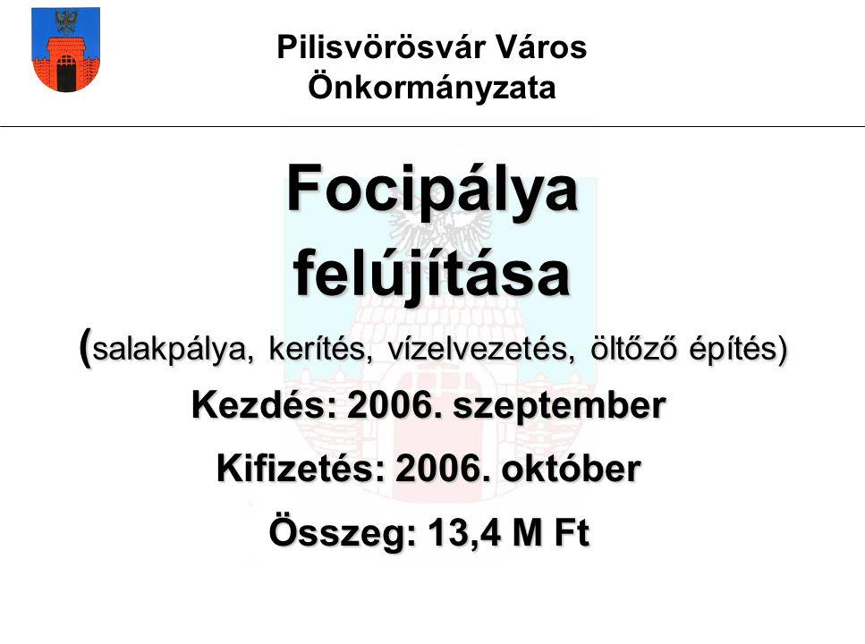 Pilisvörösvár Város Önkormányzata Focipálya felújítása ( salakpálya, kerítés, vízelvezetés, öltőző építés) Kezdés: 2006.