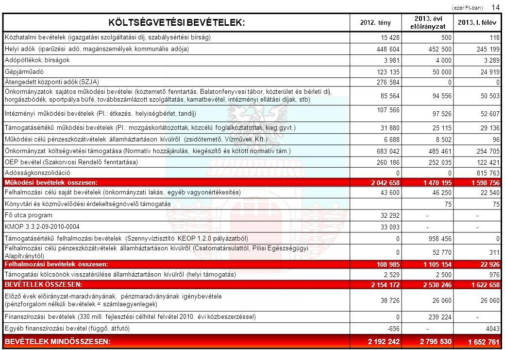 KÖLTSÉGVETÉSI BEVÉTELEK: 2012. tény 2013. évi előirányzat 2013. I. félév Közhatalmi bevételek (igazgatási szolgáltatási díj, szabálysértési bírság)15
