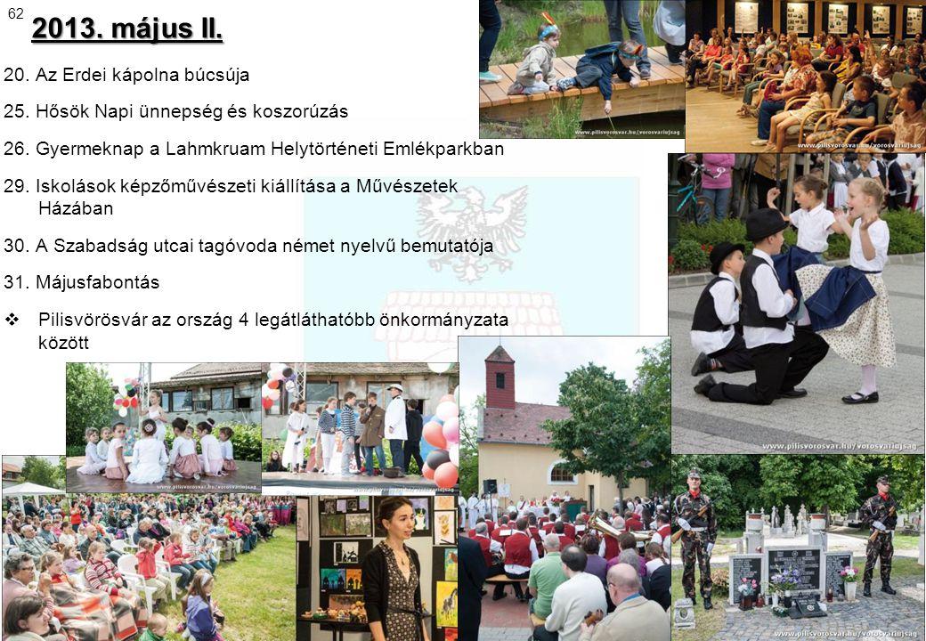 2013. május II. 20. Az Erdei kápolna búcsúja 25. Hősök Napi ünnepség és koszorúzás 26. Gyermeknap a Lahmkruam Helytörténeti Emlékparkban 29. Iskolások