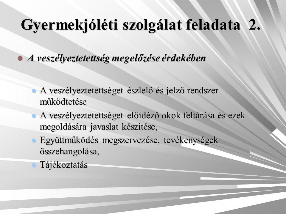 Gyermekjóléti szolgálat feladata 2. A veszélyeztetettség megelőzése érdekében A veszélyeztetettség megelőzése érdekében A veszélyeztetettséget észlelő