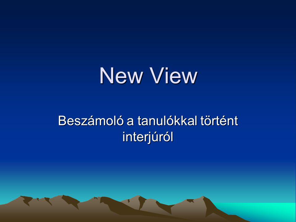 New View Beszámoló a tanulókkal történt interjúról
