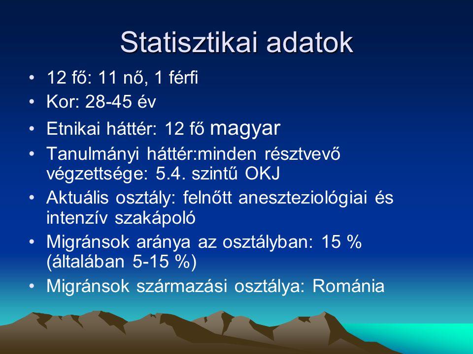 Statisztikai adatok 12 fő: 11 nő, 1 férfi Kor: 28-45 év Etnikai háttér: 12 fő magyar Tanulmányi háttér:minden résztvevő végzettsége: 5.4.