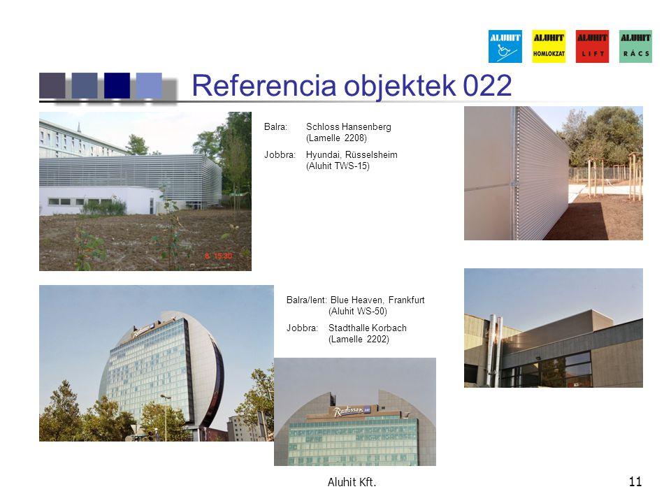 Aluhit Kft. 11 Referencia objektek 022 Balra: Schloss Hansenberg (Lamelle 2208) Jobbra:Hyundai, Rüsselsheim (Aluhit TWS-15) Balra/lent: Blue Heaven, F