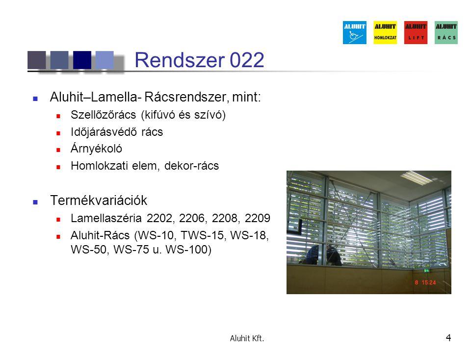 Aluhit Kft. 4 Rendszer 022 Aluhit–Lamella- Rácsrendszer, mint: Szellőzőrács (kifúvó és szívó) Időjárásvédő rács Árnyékoló Homlokzati elem, dekor-rács