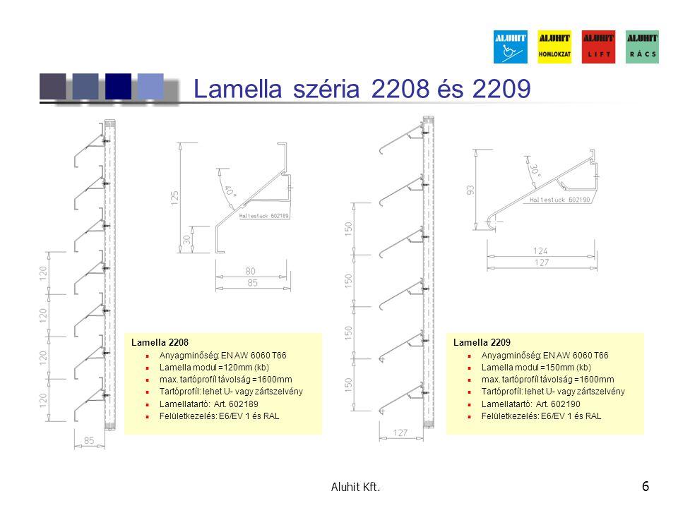 Aluhit Kft. 6 Lamella széria 2208 és 2209 Lamella 2208 Anyagminőség: EN AW 6060 T66 Lamella modul =120mm (kb) max. tartóprofíl távolság =1600mm Tartóp