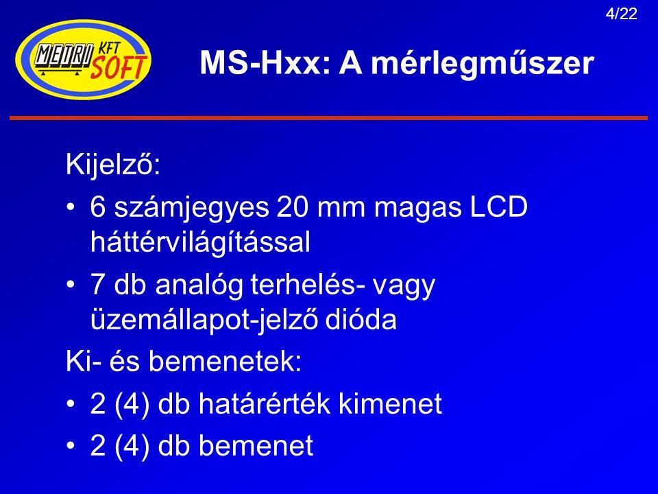 5/22 MS-Hxx: A mérlegműszer Kommunikáció: 1 db TTY20 mA-es passzív áramhurok 2 db RS-232 vonal 1 db RS485/422 (normál kommuniká- cióra vagy digitális cellák kezelésére) 1 db infra optikai csatorna (közvetlenül az előlapra illesztett csatolóegységgel) USB port