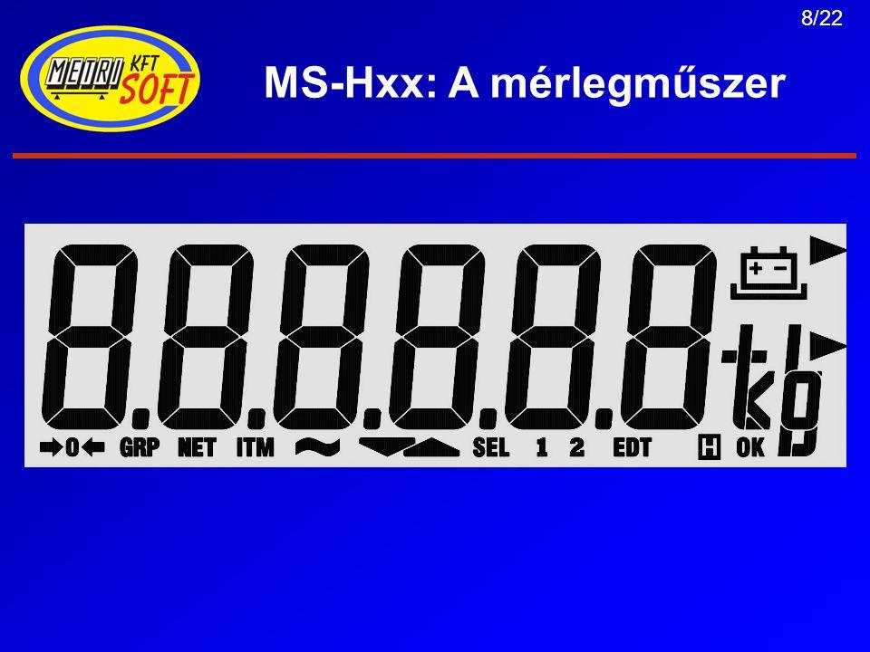 9/22 MS-Hxx: A mérlegműszer Menürendszer: 3 szintű, különböző jogosultságokkal –Felhasználói (User) –Szerviz –Mérleg Jelszóval védhető ill.