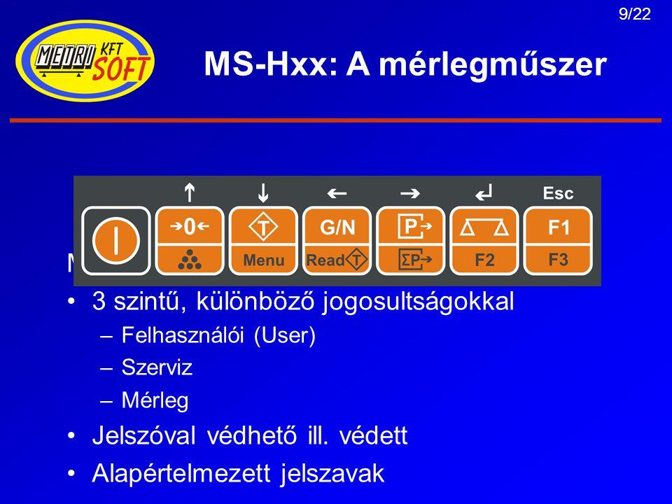 10/22 MS-Hxx: A mérlegműszer Felhasználói (User) menü: Határértékek bevitele (6 helyiértéken) SEtPtS – SPt-1, SPt-2, SPt-Lo, SPt-Hi Kódszám megadása (6-jegyű szám) CodE-0, CodE-1, CodE-2, CodE-3, Dátum (dAtE), idő (tiME) Kézi tára (K.tArA) briGht, LEd, voL, b.LiGht PEndr.0, buF.dEL