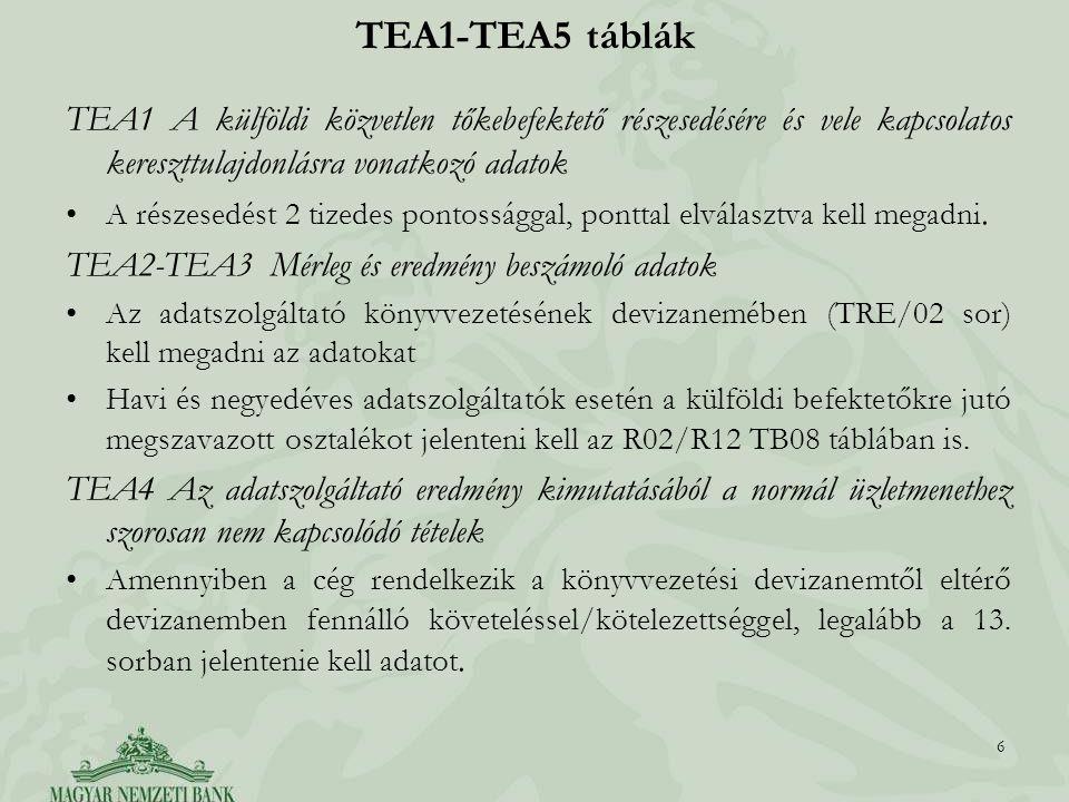 TEA1 A külföldi közvetlen tőkebefektető részesedésére és vele kapcsolatos kereszttulajdonlásra vonatkozó adatok A részesedést 2 tizedes pontossággal,