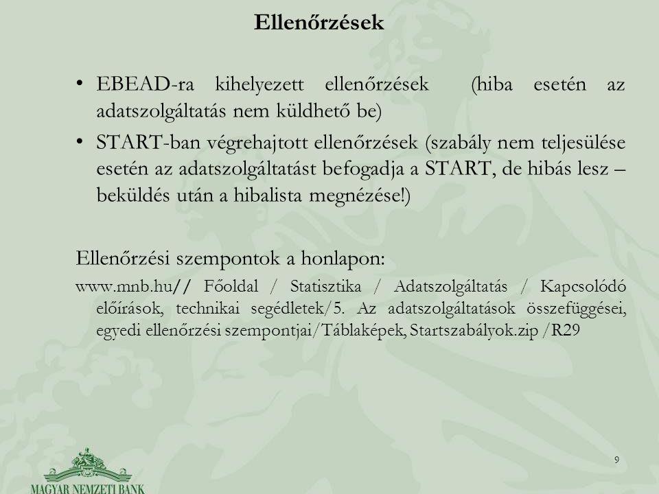 Ellenőrzések EBEAD-ra kihelyezett ellenőrzések (hiba esetén az adatszolgáltatás nem küldhető be) START-ban végrehajtott ellenőrzések (szabály nem telj