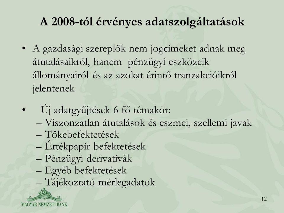 12 A 2008-tól érvényes adatszolgáltatások A gazdasági szereplők nem jogcímeket adnak meg átutalásaikról, hanem pénzügyi eszközeik állományairól és az