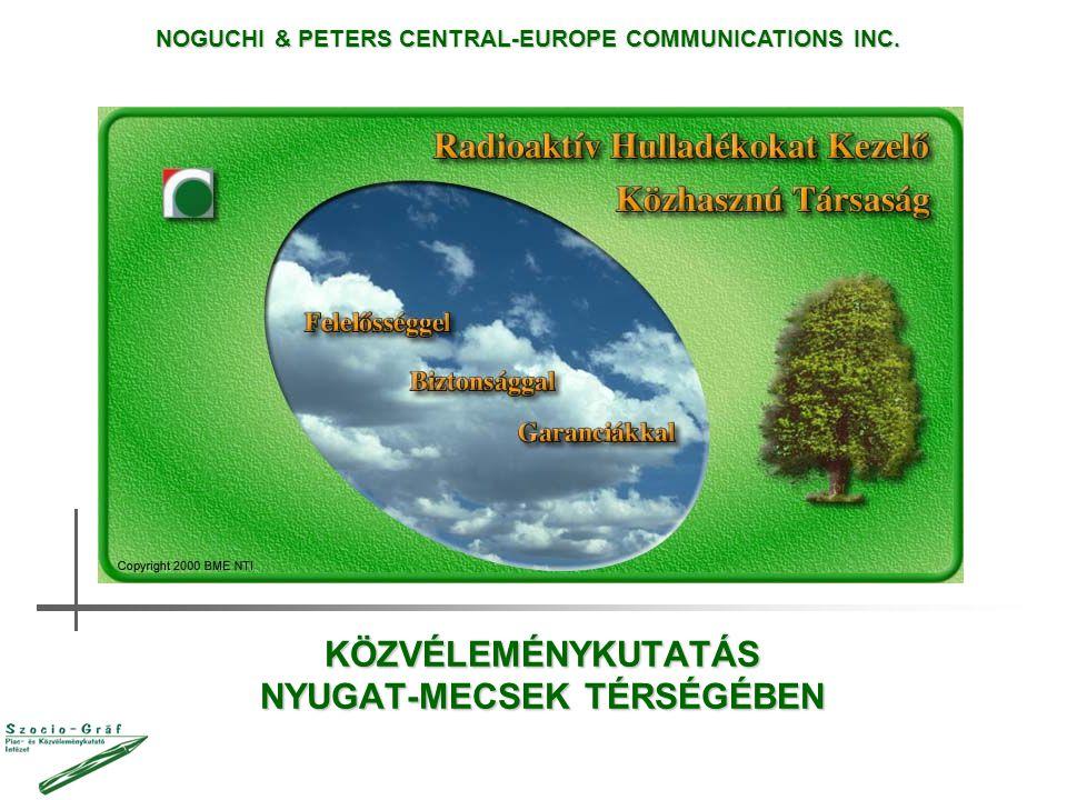 KÖZVÉLEMÉNYKUTATÁS NYUGAT-MECSEK TÉRSÉGÉBEN NOGUCHI & PETERS CENTRAL-EUROPE COMMUNICATIONS INC.