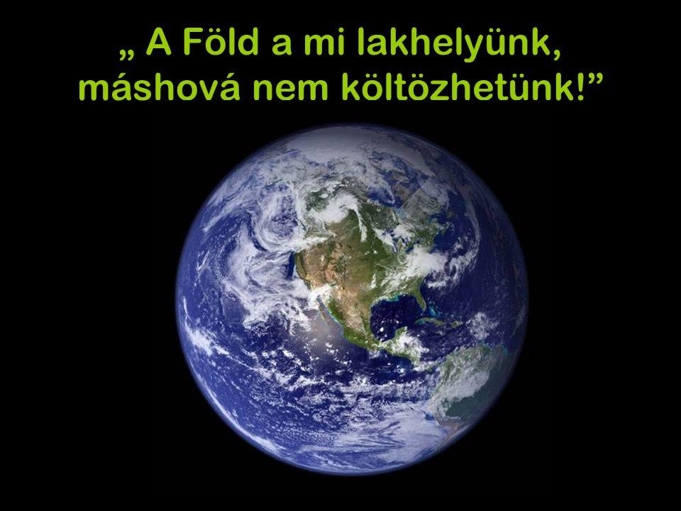 """"""" A Föld a mi lakhelyünk, máshová nem költözhetünk!"""