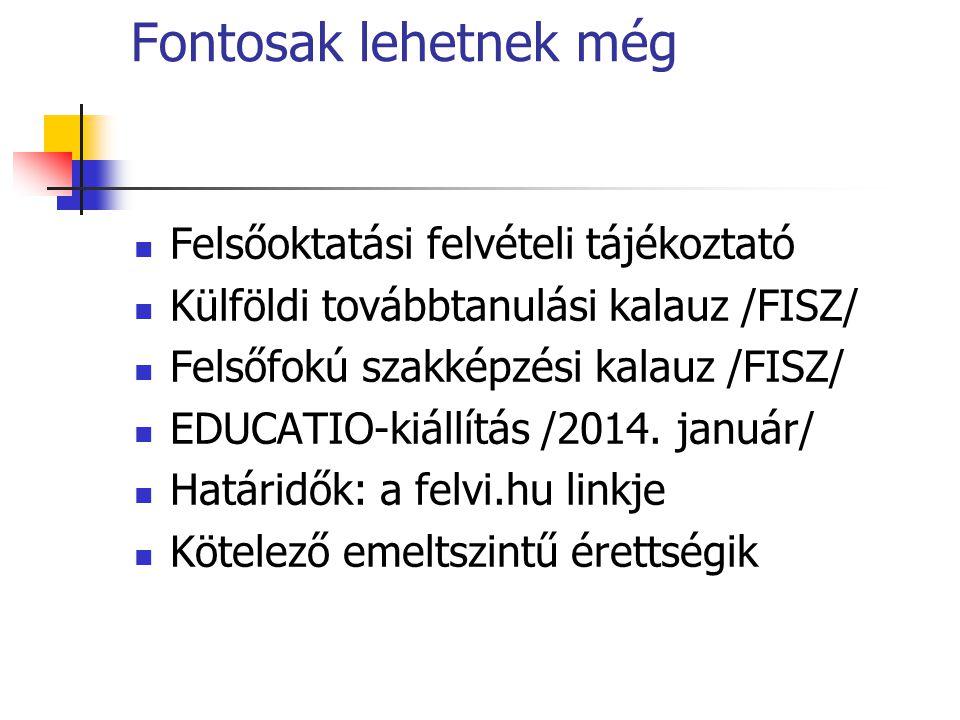 Fontosak lehetnek még Felsőoktatási felvételi tájékoztató Külföldi továbbtanulási kalauz /FISZ/ Felsőfokú szakképzési kalauz /FISZ/ EDUCATIO-kiállítás /2014.