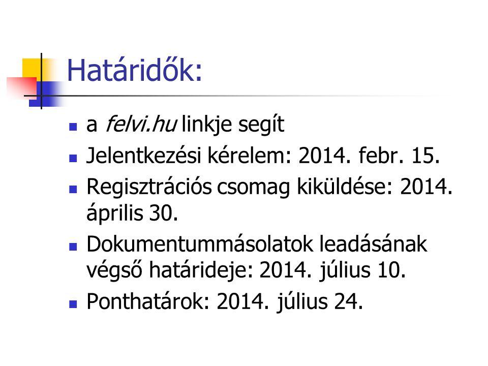 Határidők: a felvi.hu linkje segít Jelentkezési kérelem: 2014. febr. 15. Regisztrációs csomag kiküldése: 2014. április 30. Dokumentummásolatok leadásá