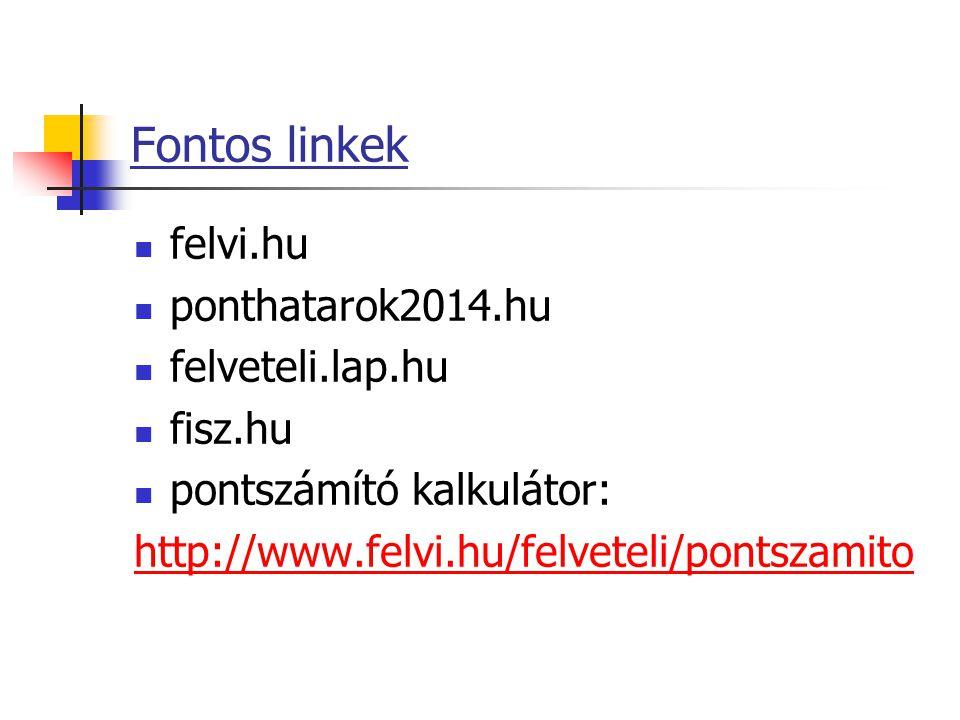 Fontos linkek felvi.hu ponthatarok2014.hu felveteli.lap.hu fisz.hu pontszámító kalkulátor: http://www.felvi.hu/felveteli/pontszamito
