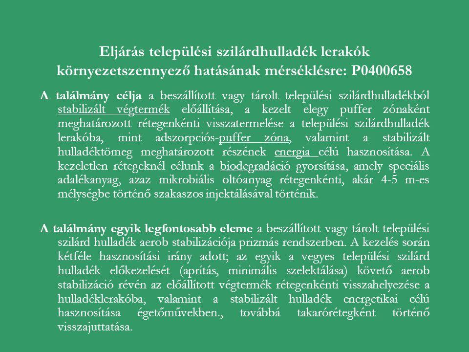 Eljárás települési szilárdhulladék lerakók környezetszennyező hatásának mérséklésre: P0400658 A találmány célja a beszállított vagy tárolt települési
