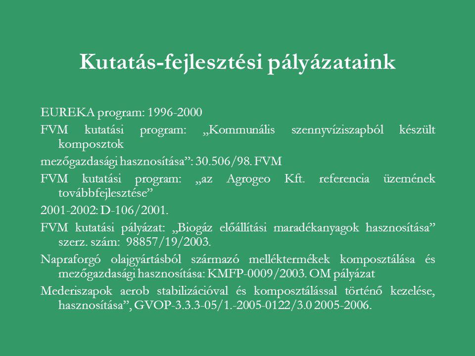 """Kutatás-fejlesztési pályázataink EUREKA program: 1996-2000 FVM kutatási program: """"Kommunális szennyvíziszapból készült komposztok mezőgazdasági haszno"""
