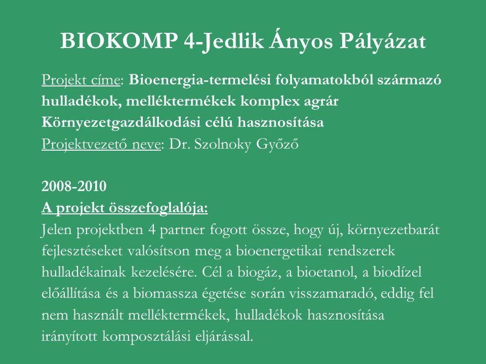 BIOKOMP 4-Jedlik Ányos Pályázat Projekt címe: Bioenergia-termelési folyamatokból származó hulladékok, melléktermékek komplex agrár Környezetgazdálkodá