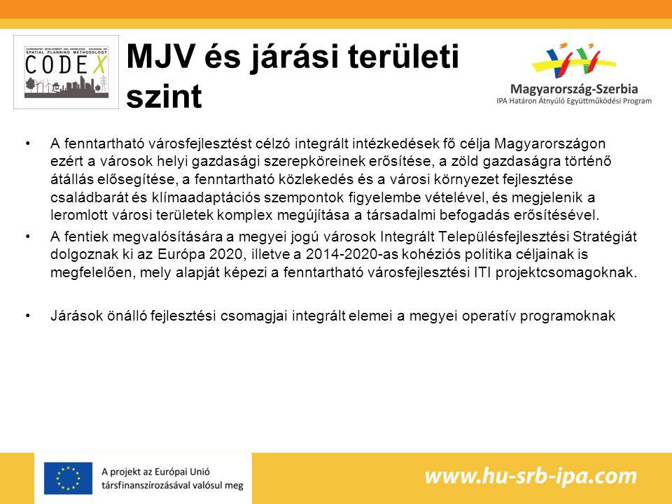 MJV és járási területi szint A fenntartható városfejlesztést célzó integrált intézkedések fő célja Magyarországon ezért a városok helyi gazdasági szerepköreinek erősítése, a zöld gazdaságra történő átállás elősegítése, a fenntartható közlekedés és a városi környezet fejlesztése családbarát és klímaadaptációs szempontok figyelembe vételével, és megjelenik a leromlott városi területek komplex megújítása a társadalmi befogadás erősítésével.