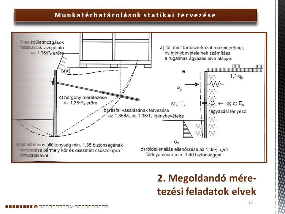 Munkatérhatárolások statikai tervezése  Korábban elsősorban az előbbire koncentrált a tervezés: a szerkezetek geotechnikai méretezése a falak befogásának, nyomatéki igénybevételeinek, a megtámasztásokra (horgonyokra) jutó erőknek a megállapítását foglalta magába.