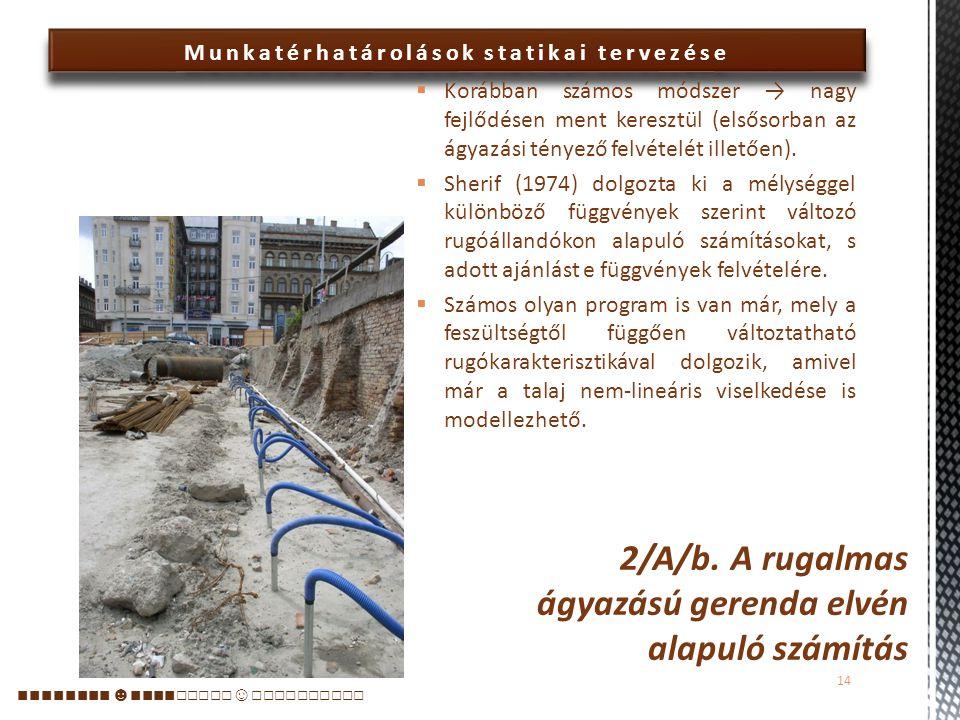  A rugalmas ágyazás elvén alapuló számítások lényege a Winkler-elv:  a környező talajt vízszintes helyzetű lineáris (állandó rugóállandójú) rugókkal modellezzük → a falat rugalmas ágyazású gerendának tekintjük, s olyan földnyomás- eloszlást keresünk, mely kielégíti az egyensúlyi követelményeket és a fal (a gerendatartó) és a talaj (a rugók) azonos deformációs vonalát eredményezik.