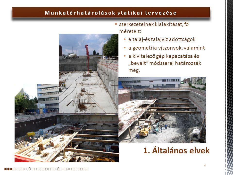 Munkatérhatárolások statikai tervezése  A gyakorló tervezők az EC 7 elveit követik – kiegészítve a gyakorlati tapasztalatokkal  A munkatérhatárolások : lövellt betonnal fedett, szegezett talajtámfal – jellemzően a felső 2-3 méteren jet-falas talajtámfal a foghíjakon a szomszédos épületek alatt hézagos cölöpfal hátrahorgonyozva vagy belülről csőtámokkal megtámasztva (jellemzően agyagos, márgás környezetben) résfal hátrahorgonyozva vagy belülről csőtámokkal megtámasztva helyenként rézsűs határolás vagy berlini dúcolat, ritkán szádfal 1.
