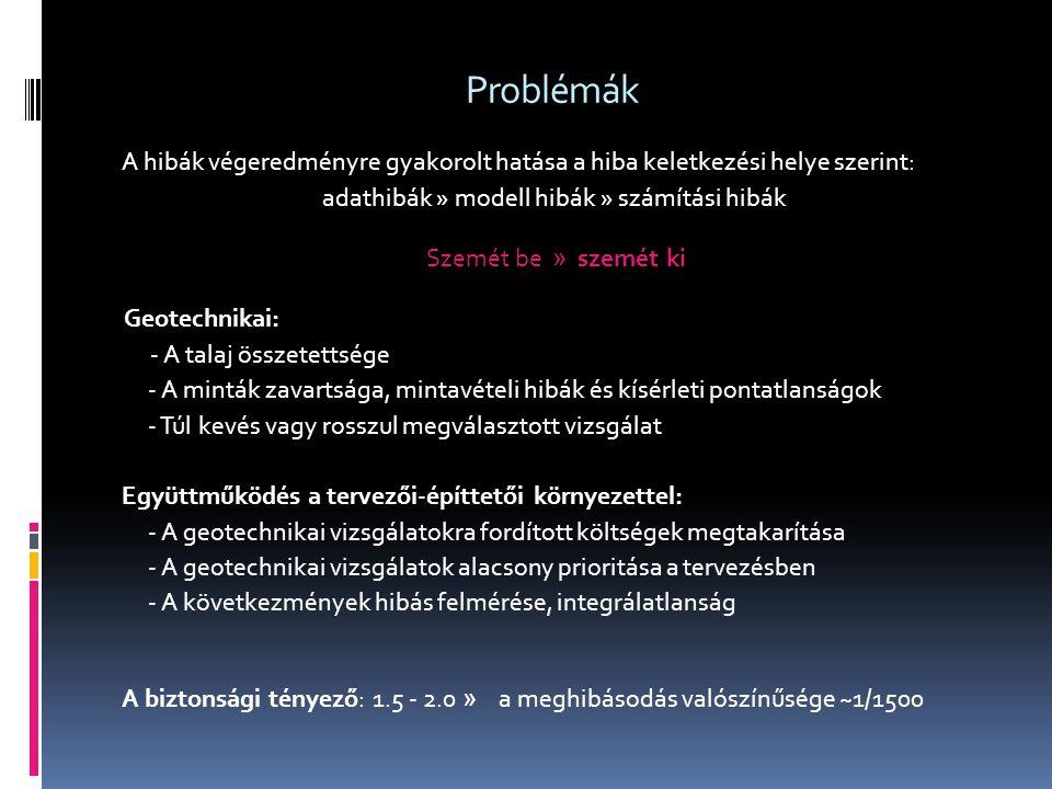 Problémák A hibák végeredményre gyakorolt hatása a hiba keletkezési helye szerint: adathibák » modell hibák » számítási hibák Szemét be » szemét ki Ge