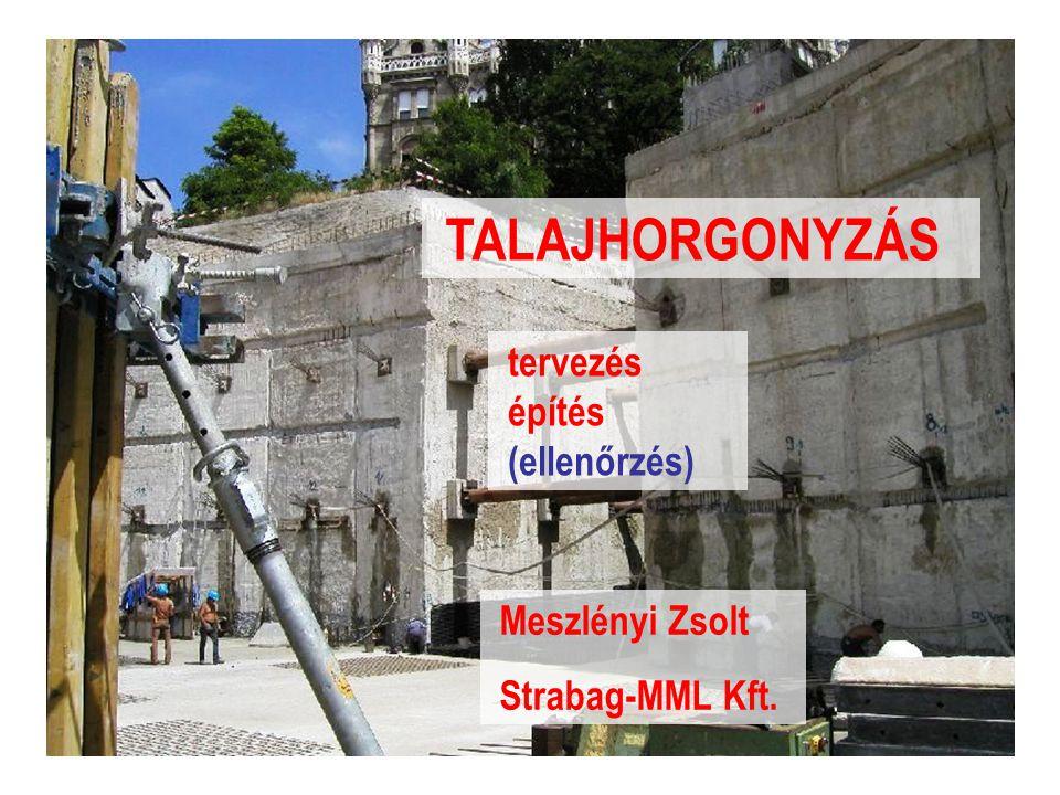 Talajhorgonyzás (Meszlényi Zs.)2 Talajhorgonyok - fogalmak Talajhorgony : olyan szerkezet, amely reakció erőt visz át a gyámolított szerkezetről a talajra vagy kőzetre _____________________________________ Horgonyfej : erőátadás a szerkezetre (átvezetés, feszíthetőség, rögzítés) Szabad szakasz : rugalmas erőátviteli hossz (elmozdulást biztosít, nincs erőátadás) Befogott szakasz : erőátadás a talajra (szakadólapon kívül, stabilitás !) _____________________________________ Magas kockázatú szerkezet .