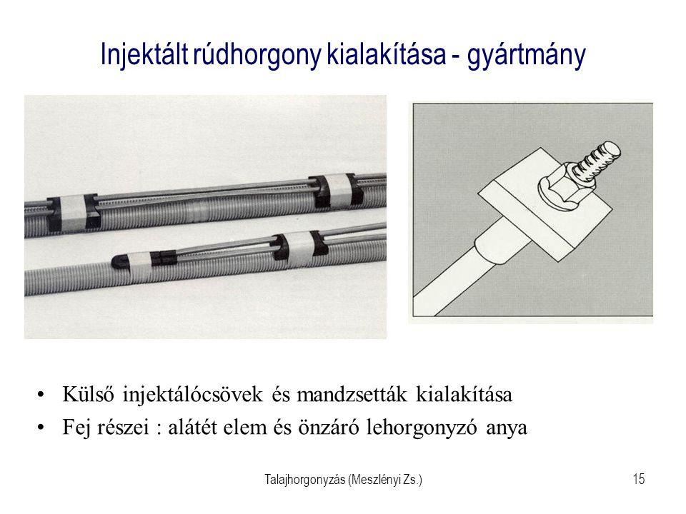 Talajhorgonyzás (Meszlényi Zs.)15 Injektált rúdhorgony kialakítása - gyártmány Külső injektálócsövek és mandzsetták kialakítása Fej részei : alátét el