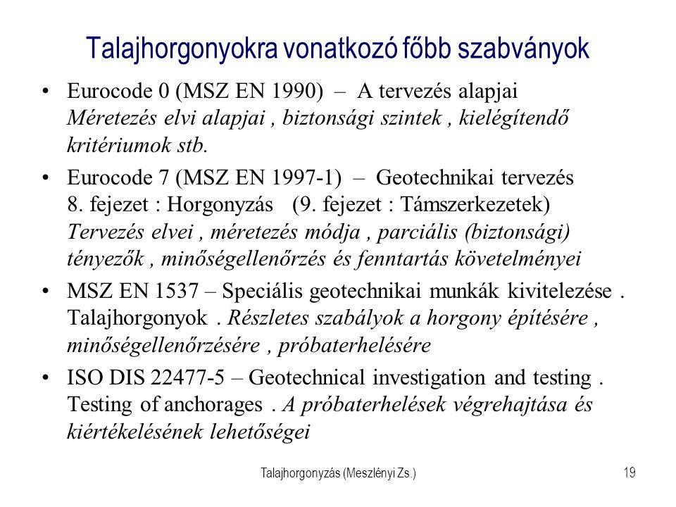Talajhorgonyzás (Meszlényi Zs.)19 Talajhorgonyokra vonatkozó főbb szabványok Eurocode 0 (MSZ EN 1990) – A tervezés alapjai Méretezés elvi alapjai, biz