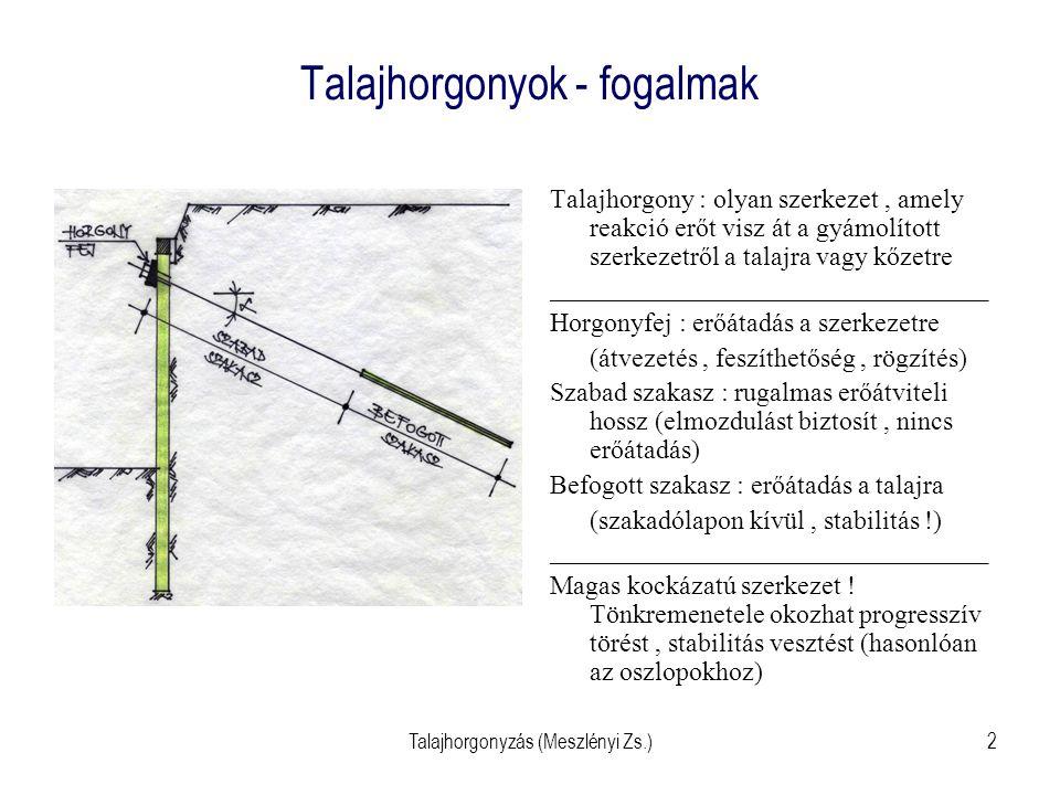 Talajhorgonyzás (Meszlényi Zs.)13 Injektált rúdhorgony kialakítása - gyártmány Ideiglenes és állandó is lehet Furatba, cement- habarcsba beépítve Szabad szakaszon PVC cső a rúdon (csú- szik a habarcsban) Állandónál a befogás is PVC bordáscsővel védve (korrozió), és belül is feltöltve ha- barccsal