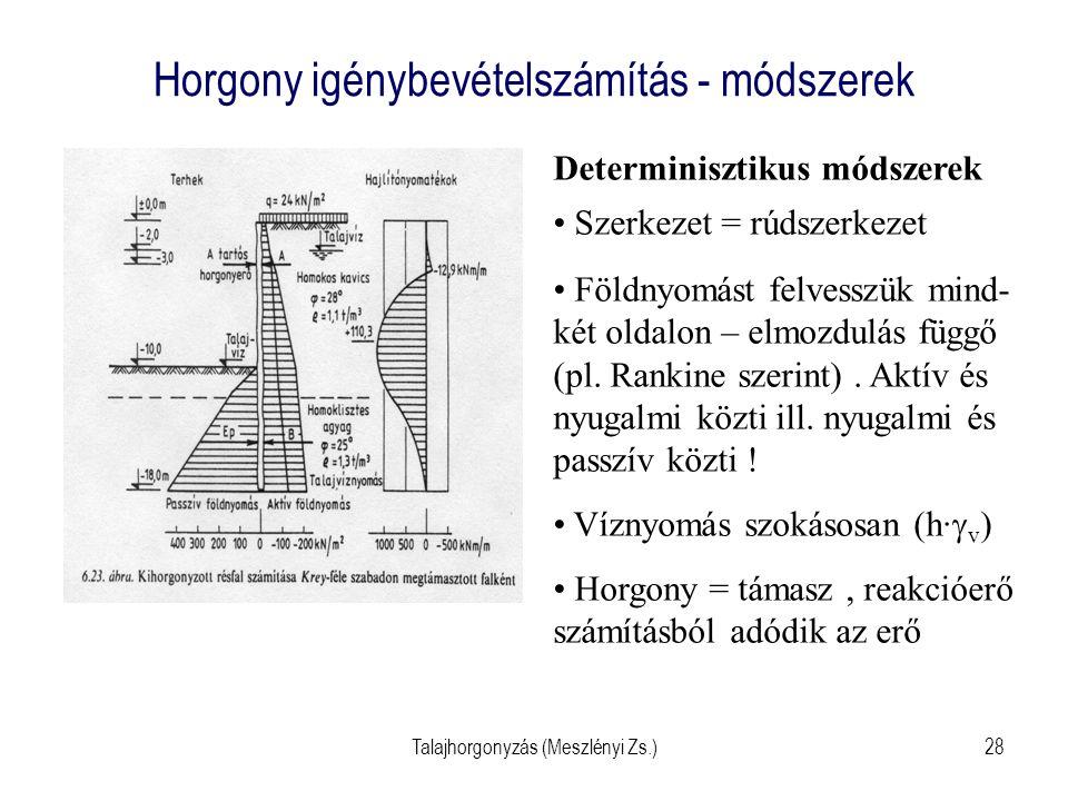 Talajhorgonyzás (Meszlényi Zs.)28 Horgony igénybevételszámítás - módszerek Determinisztikus módszerek Szerkezet = rúdszerkezet Földnyomást felvesszük