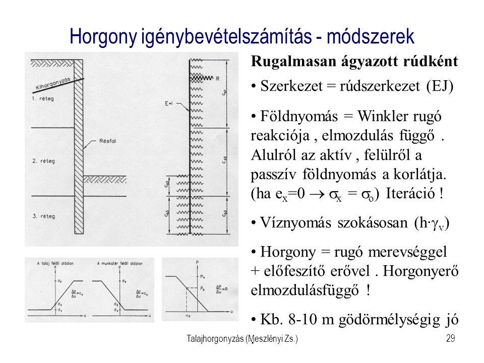 Talajhorgonyzás (Meszlényi Zs.)29 Horgony igénybevételszámítás - módszerek Rugalmasan ágyazott rúdként Szerkezet = rúdszerkezet (EJ) Földnyomás = Wink