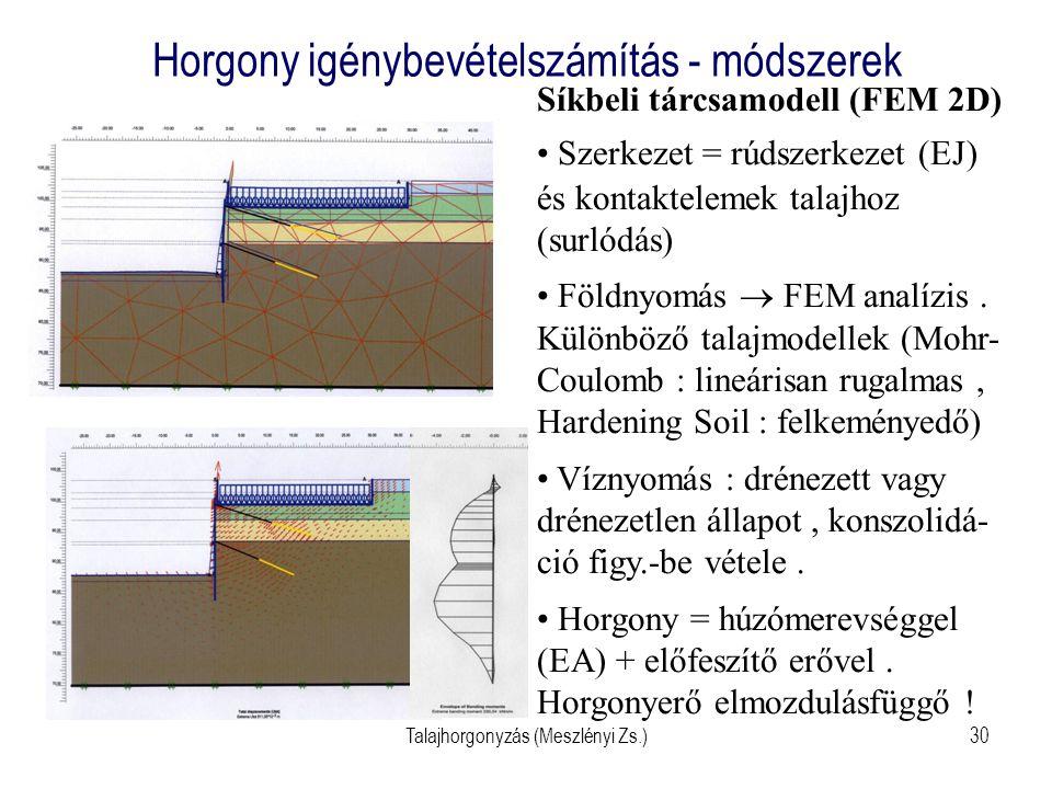 Talajhorgonyzás (Meszlényi Zs.)30 Horgony igénybevételszámítás - módszerek Síkbeli tárcsamodell (FEM 2D) Szerkezet = rúdszerkezet (EJ) és kontakteleme