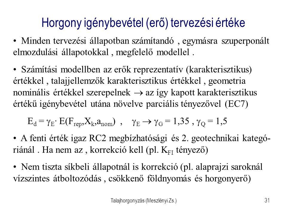 Talajhorgonyzás (Meszlényi Zs.)31 Horgony igénybevétel (erő) tervezési értéke Minden tervezési állapotban számítandó, egymásra szuperponált elmozdulás