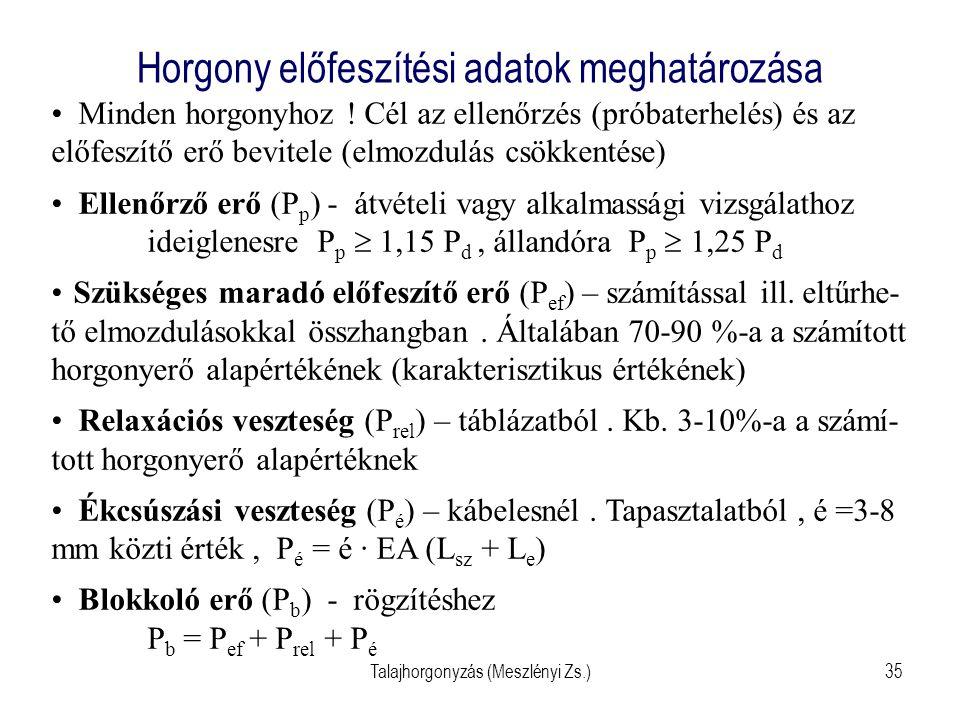 Talajhorgonyzás (Meszlényi Zs.)35 Horgony előfeszítési adatok meghatározása Minden horgonyhoz ! Cél az ellenőrzés (próbaterhelés) és az előfeszítő erő