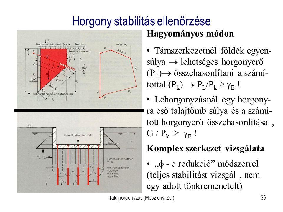 Talajhorgonyzás (Meszlényi Zs.)36 Horgony stabilitás ellenőrzése Hagyományos módon Támszerkezetnél földék egyen- súlya  lehetséges horgonyerő (P L )