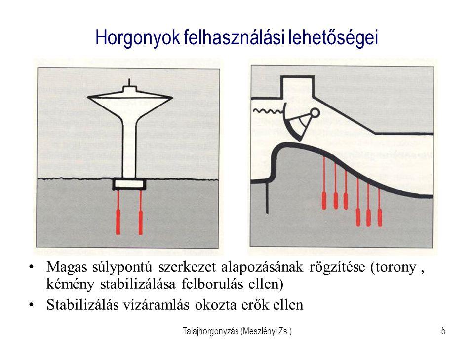 Talajhorgonyzás (Meszlényi Zs.)36 Horgony stabilitás ellenőrzése Hagyományos módon Támszerkezetnél földék egyen- súlya  lehetséges horgonyerő (P L )  összehasonlítani a számí- tottal (P k )  P L /P k   E .