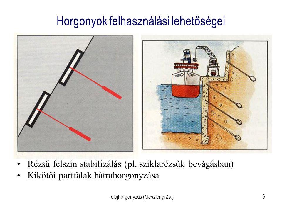 Talajhorgonyzás (Meszlényi Zs.)17 Injektált kábelhorgony kialakítása - helyszínen szerelt Injektáló acélcső szelepekkel, csúccsal Kábelek távtartókkal, bilincsekkel (ferde vezetés  befeszül a talajba) PVC cső szabad szakaszon (csúszik) Fej : átvezetés, acélék, lehorg.